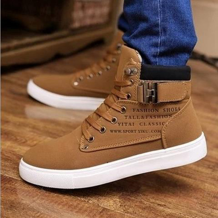 2021 autumn and winter England frosted belt buckle trendy men's high-top shoes explosive style men's shoes wholesale men's sneakers A862 men's shoes