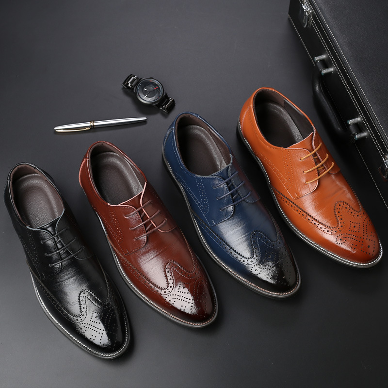 New style extra-large size men's shoes casual brooch single shoes lace-up men's shoes WISH foreign trade shoes men's drop shipping