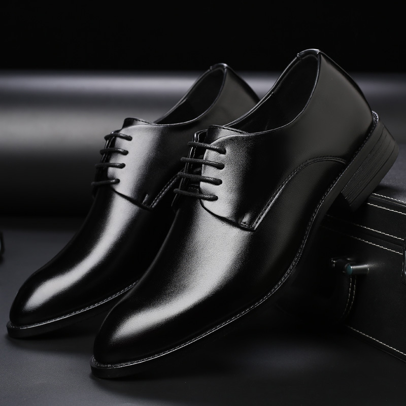Men's breathable leather shoes formal wear business shoes pointed toe lace wedding shoes men's large size wish Amazon foreign trade shoes men