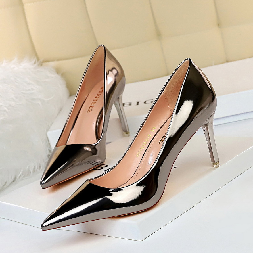 9511-A7 European and American fashion sexy metal heel high-heeled shallow mouth pointed nightclub slim high-heeled shoes women's shoes single shoes