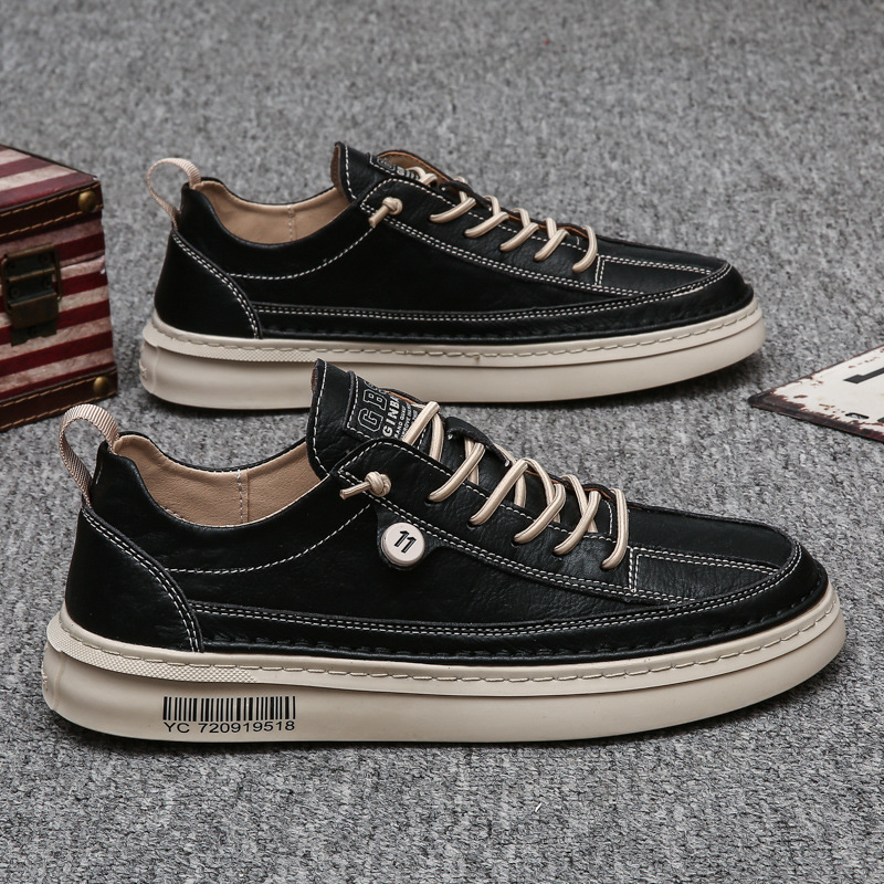 Men's shoes autumn 2020 new casual leather shoes British trend all-match men's waterproof non-slip black board shoes trendy shoes