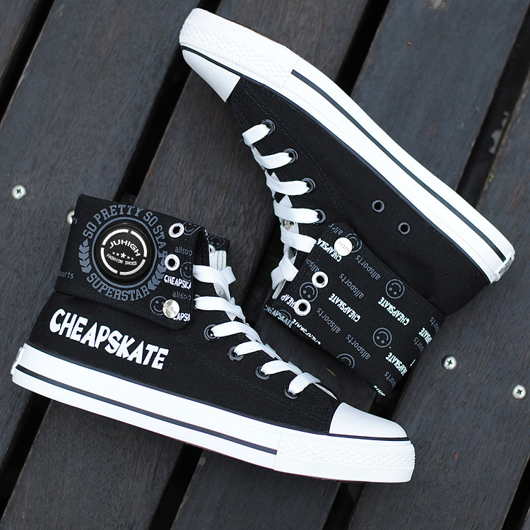 Depth profit is only 29 yuan, male high-top canvas shoes, Korean version of tide shoes, flat-heeled vulcanized shoes